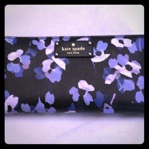 Kate Spade black leather wallet w/blue flowers.